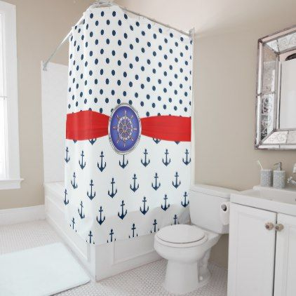 red and blue shower curtain. Red White and Blue Nautical Polka Dots Shower Curtain  shower curtains home decor custom