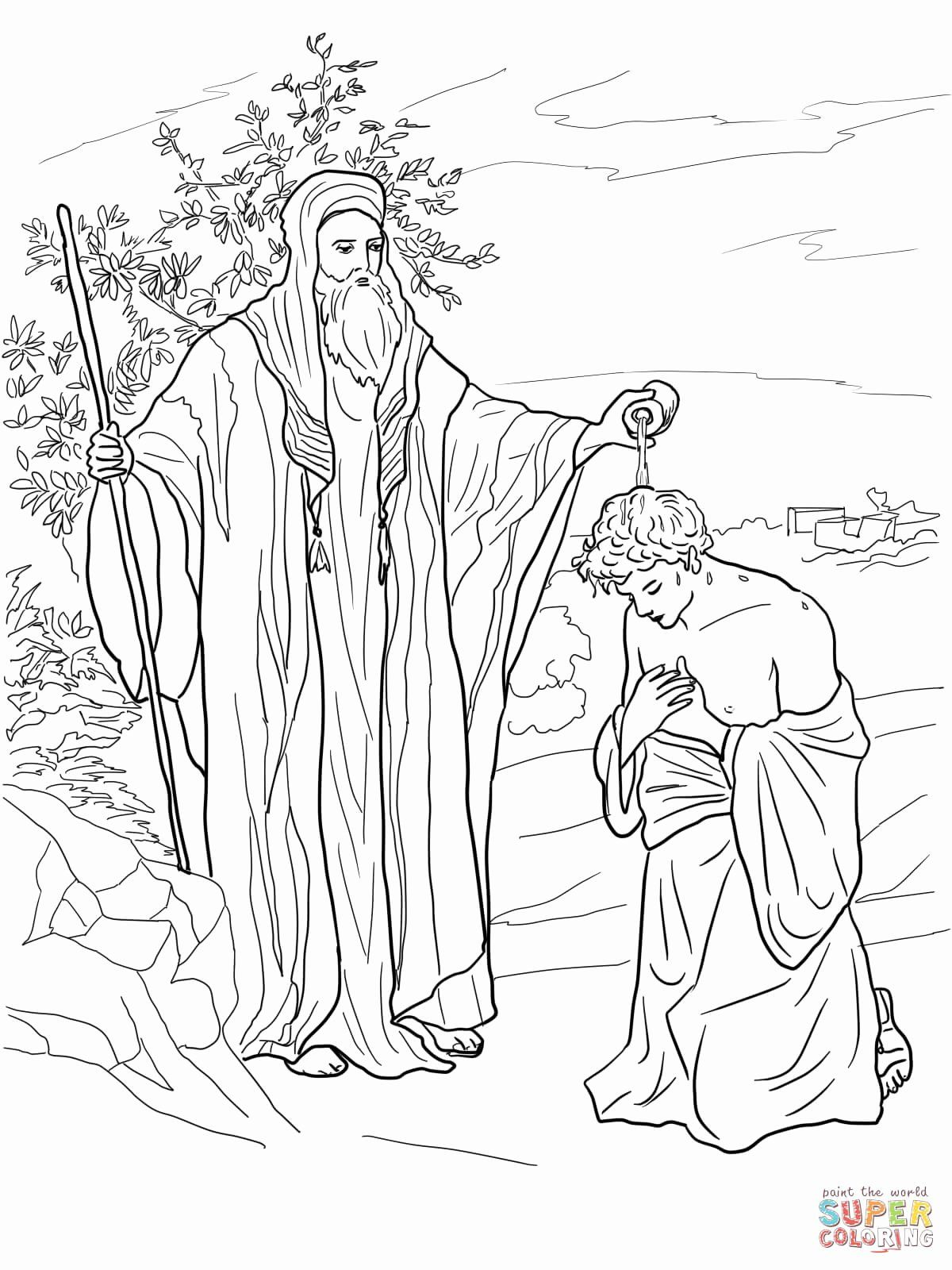 Samuel Anointed David As A King In The Story Of King Saul Coloring