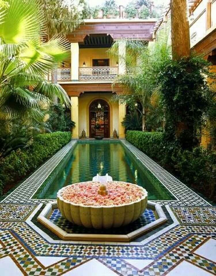 Moroccan swimming pool or fountain with ceramic fire pit for Moroccan style homes
