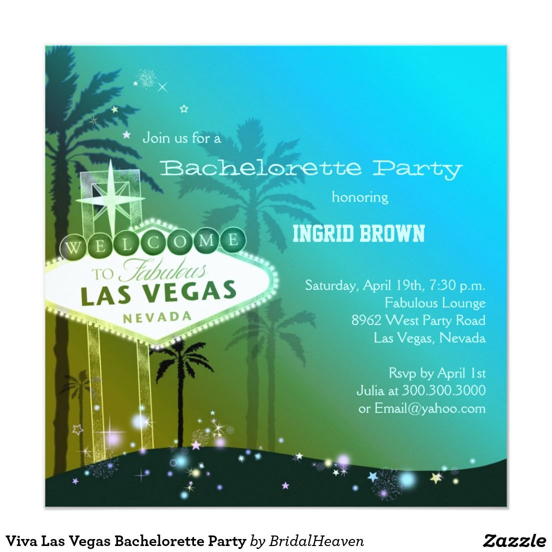 Viva Las Vegas Bachelorette Party | Bachelorette Party Invitations ...
