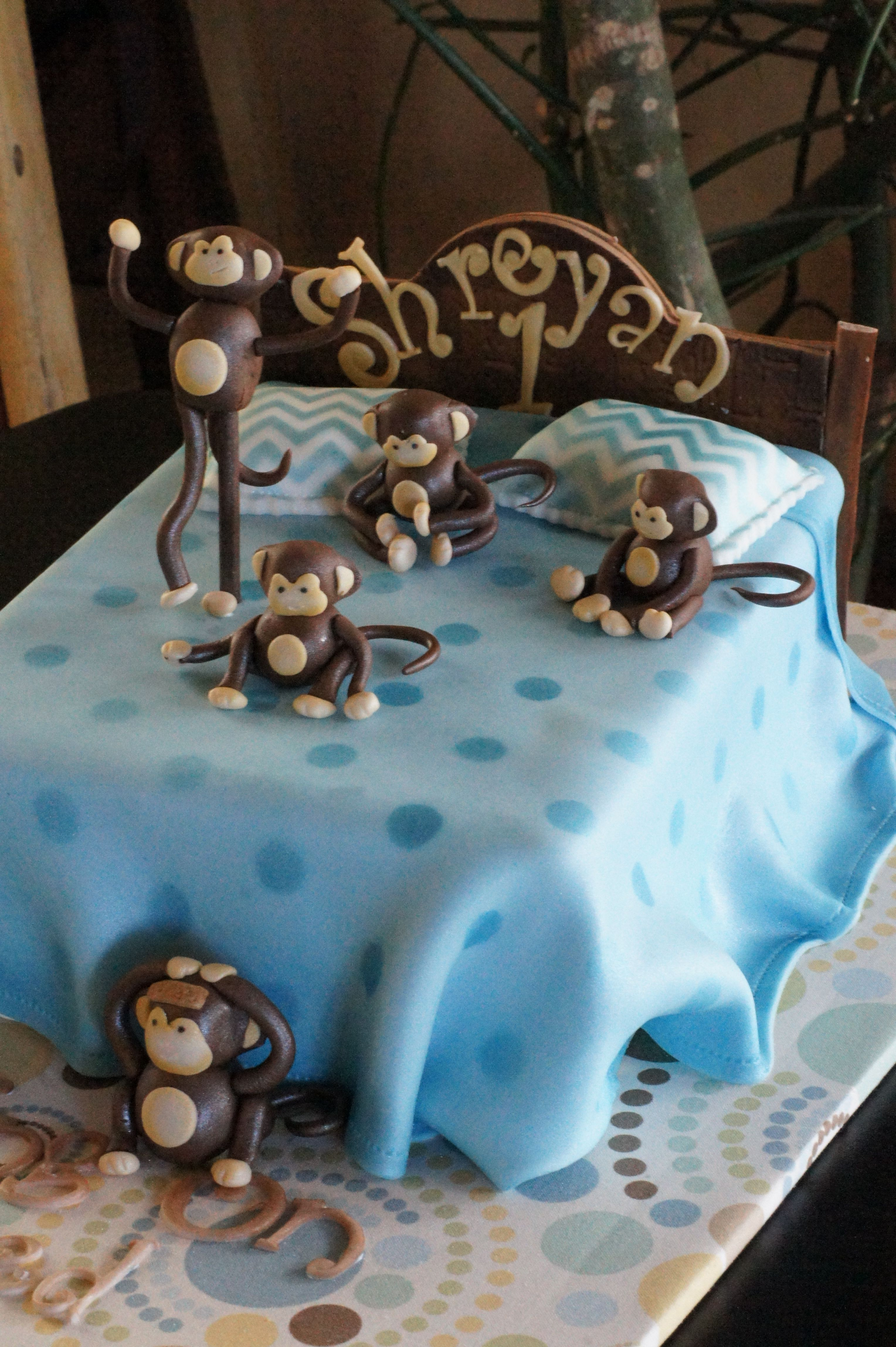 Monkeys jumping on a bed birthday cake Shaped Cakes Pinterest