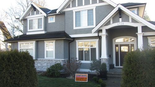 exterior painting by certapro house painters in burnaby window trim on stucco house - Stucco Exterior Paint Color Schemes