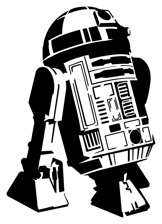 R2d2 Black And White R2-D2 stencil template...