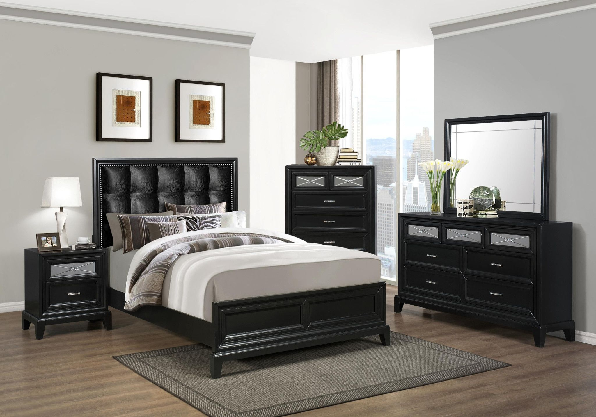 Elise 5 Piece Bedroom Suite, With Black Headboard Dresser, Mirror, Chest,  Bed