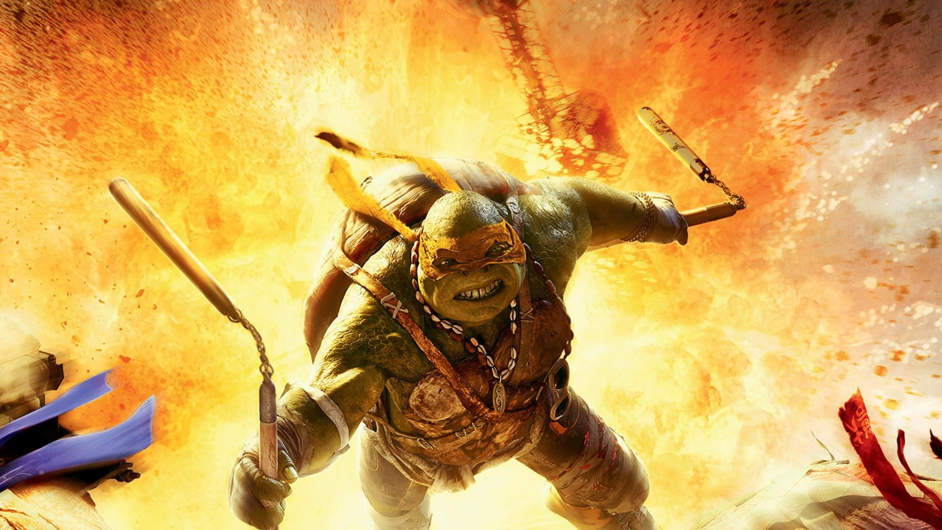 Tmnt Michelangelo Fighting In Explosion Wallpaper Hd