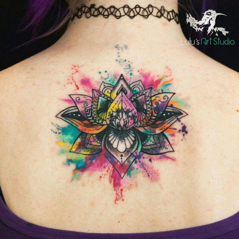 Tatuaje Flor De Loto Watercolor Lunas Tatuajes De Acuarela