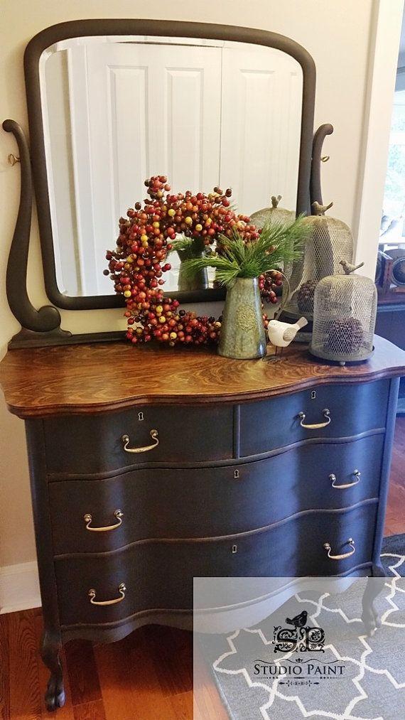 Painted Antique Serpentine Four Drawer Dresser With Mirror Tiger