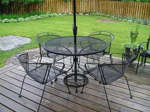 Cast Iron Patio Furniture Setetal Round Table