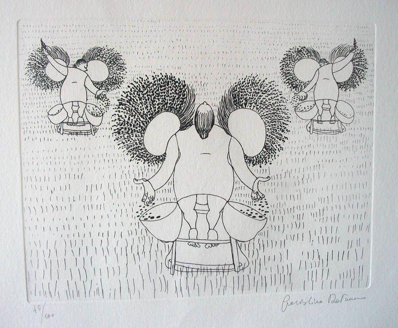 Graziolina Rotunno. Acquaforte,stampa su foglio di fabriano  50 x 70 cm.( immagine  25 x 31 cm.).