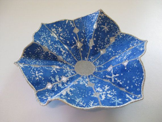 CLEARANCE Snowflake Fabric Bowl by BarbarasArtQuilts on Etsy