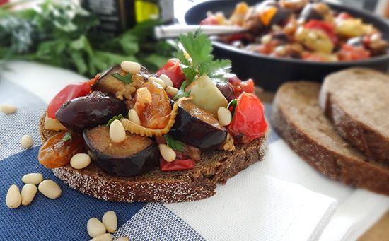 Капоната (Caponata) с изюмом, фенхелем, кедровыми орешками