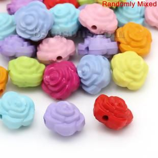 "Wholesale - Acrylic Spacer Beads Rose Flower At Random About 16mm( 5/8"") x 15mm( 5/8""), Hole: Approx 2mm, 100 PCs"