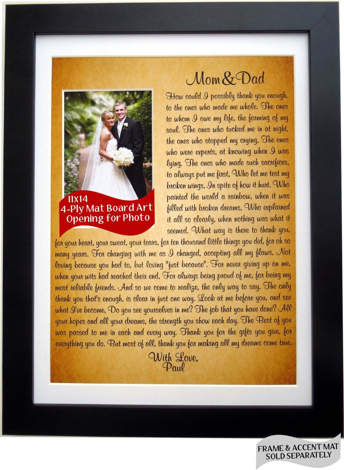 Parent Wedding Gift Personalized Thank You Gift For Mom Dad Parents