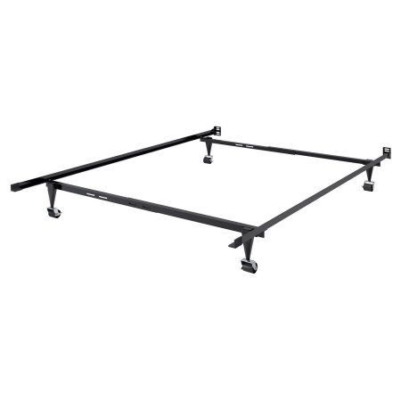 Adjustable Twin/Single or Full/Double Metal Bed Frame, Black
