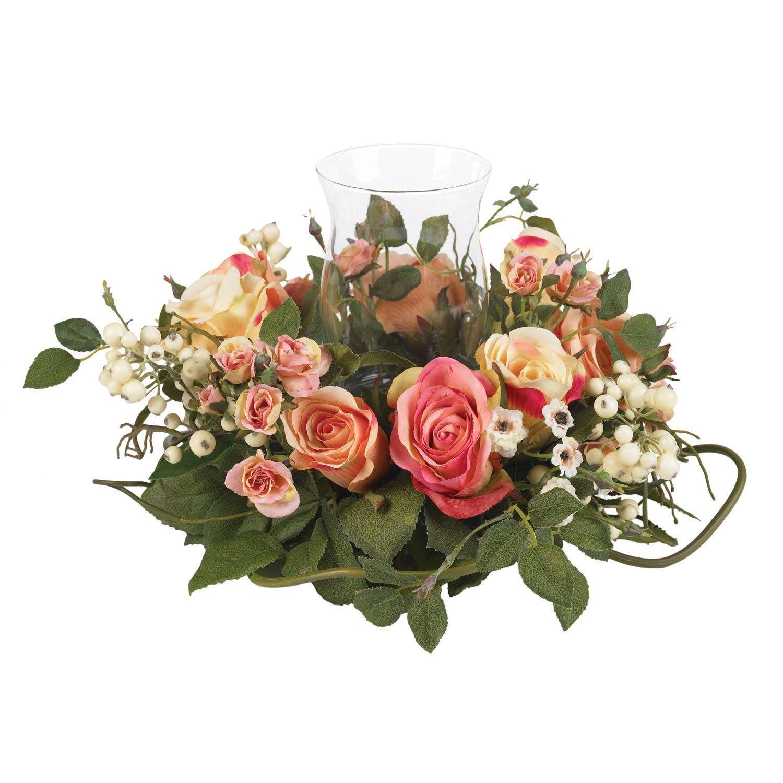 Nearly Natural Rose Candelabrum Silk Flower Arrangement Wedding