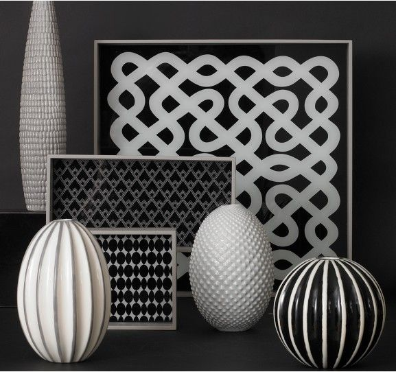 Dwell Studio Labyrinth Tray And Accessories Black White Decor Rooms