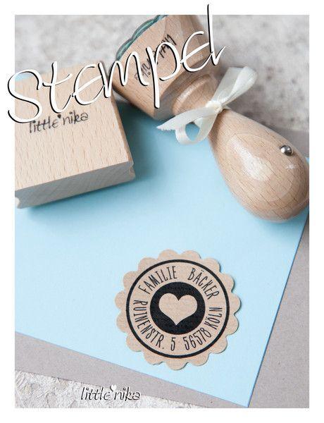 Adressstempel - Stempel FAMILIE * Herz * ( Adressstempel ) - ein Designerstück von littlenika bei DaWanda
