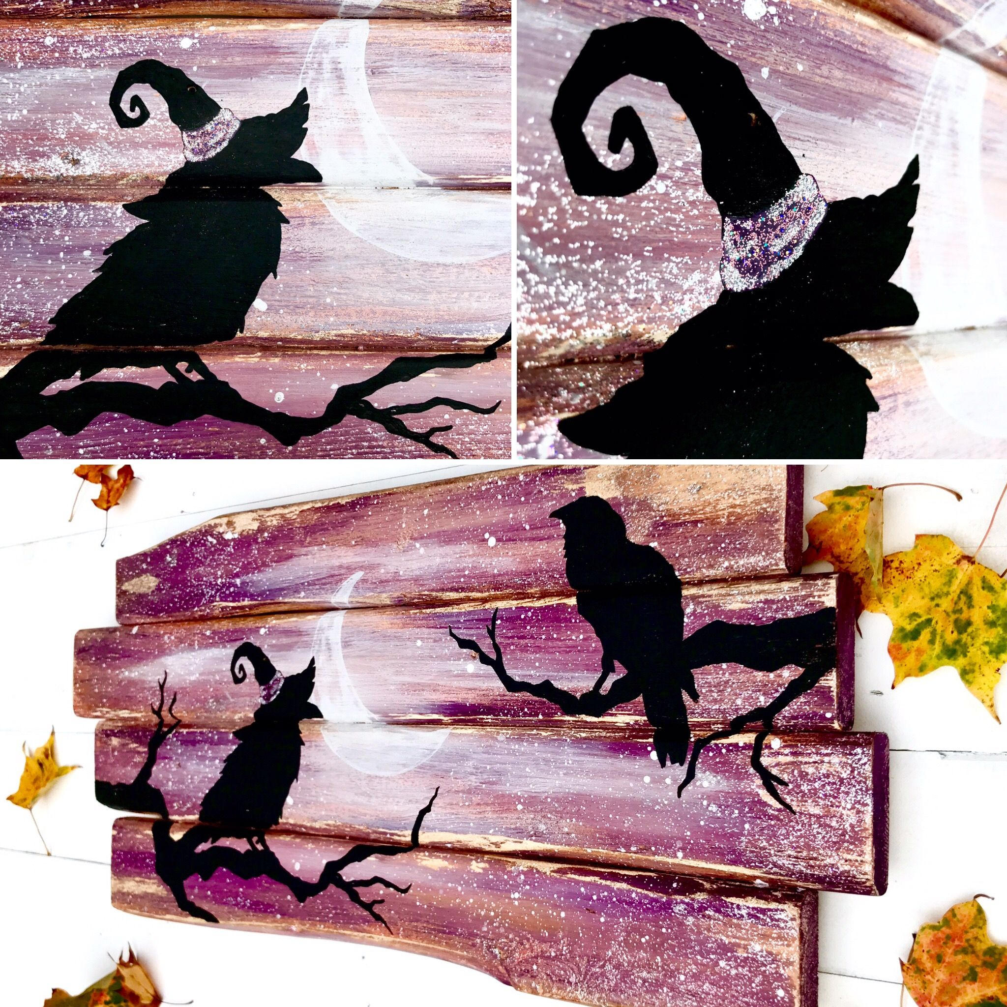 Beautiful Halloween Crow painting that literally sparkles ...