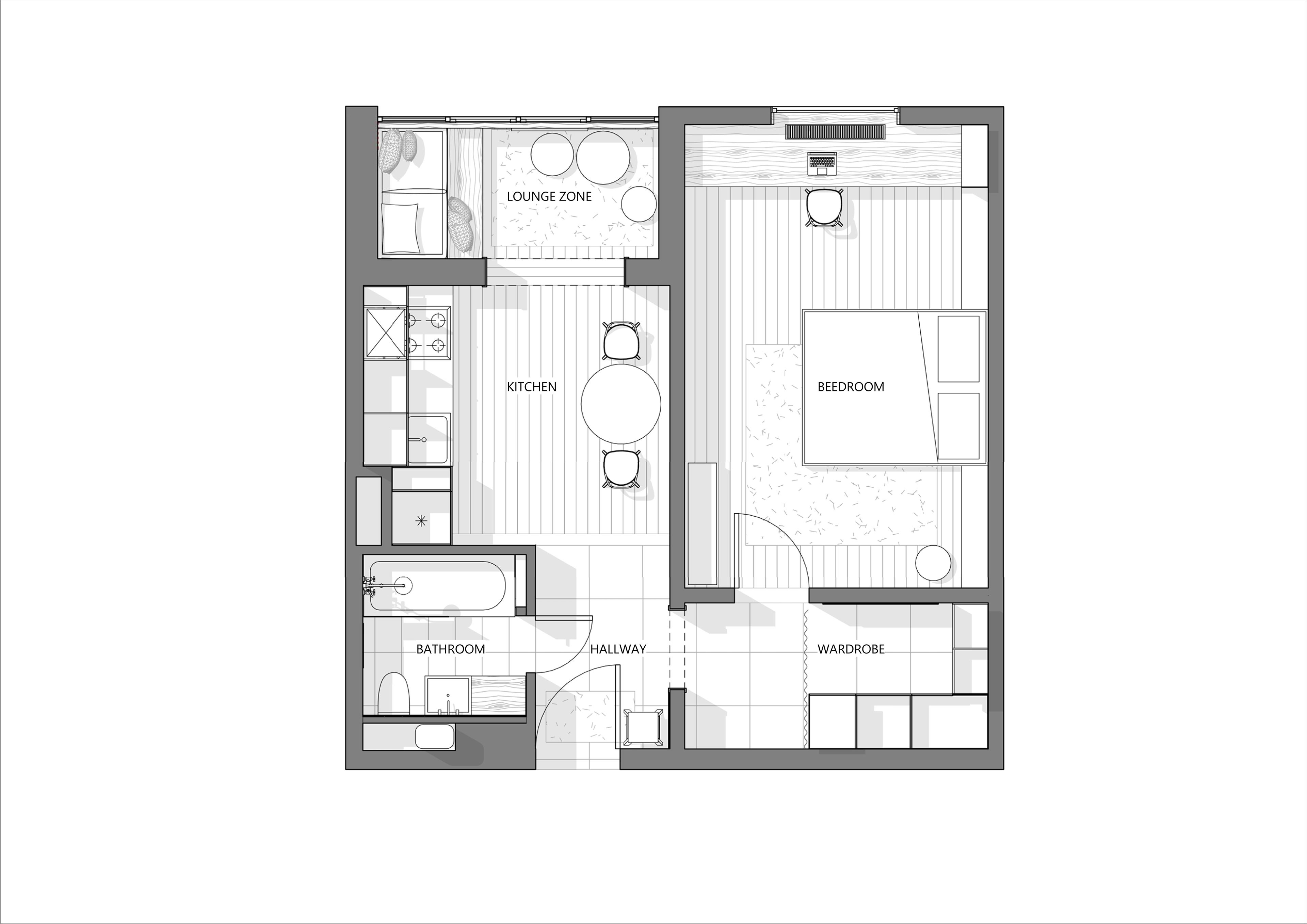 A Flat For Young Couple Apartment Floor Plans Small Apartment Plans House Floor Plans