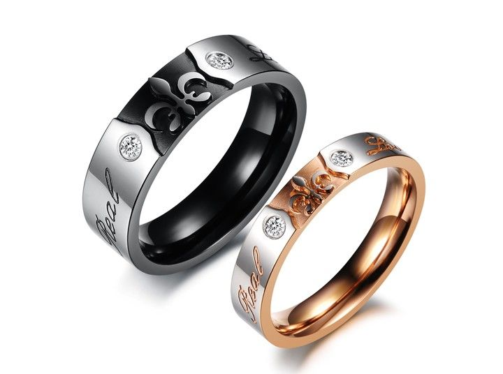 Him & Her Gothic Style Matching Couple Ring Set - Promise Ring ...