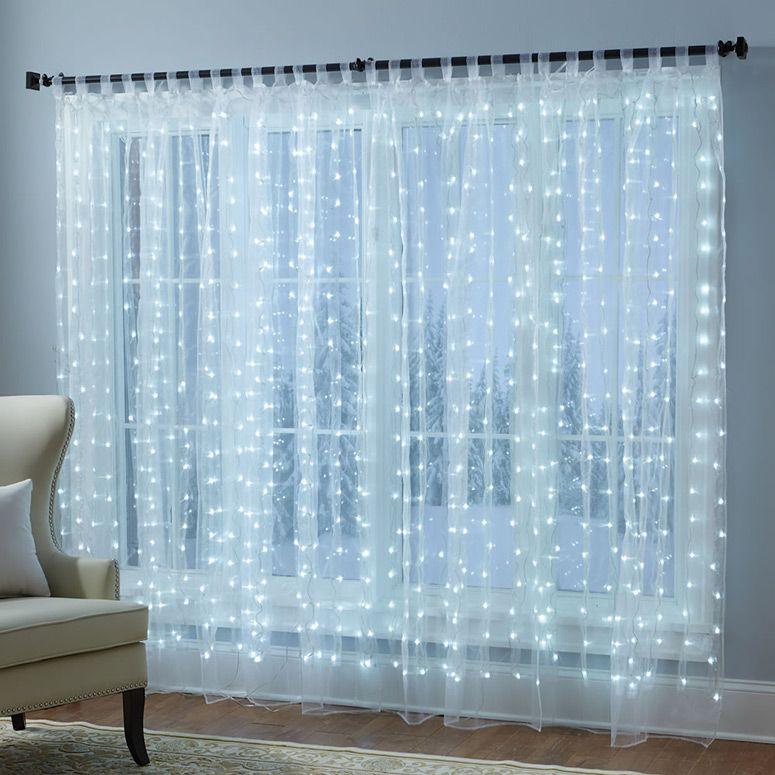 Festive Illuminated Window Sheer Curtains Fairy Lights Bedroom Led Curtain Lights Window Sheers