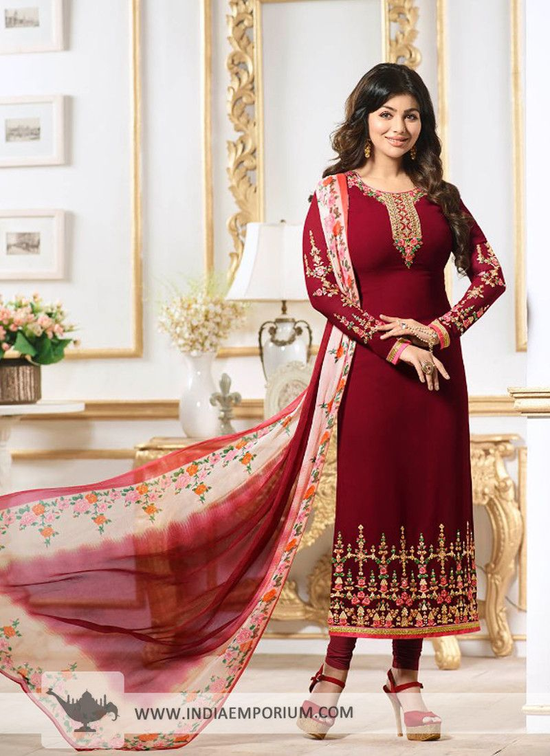 71f7d214eb Delightful Maroon Faux #Georgette #Embroidered #Churidar #Suit ...