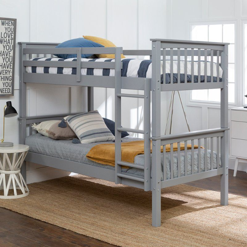 Mission Gray Twin Over Bunk Bed In