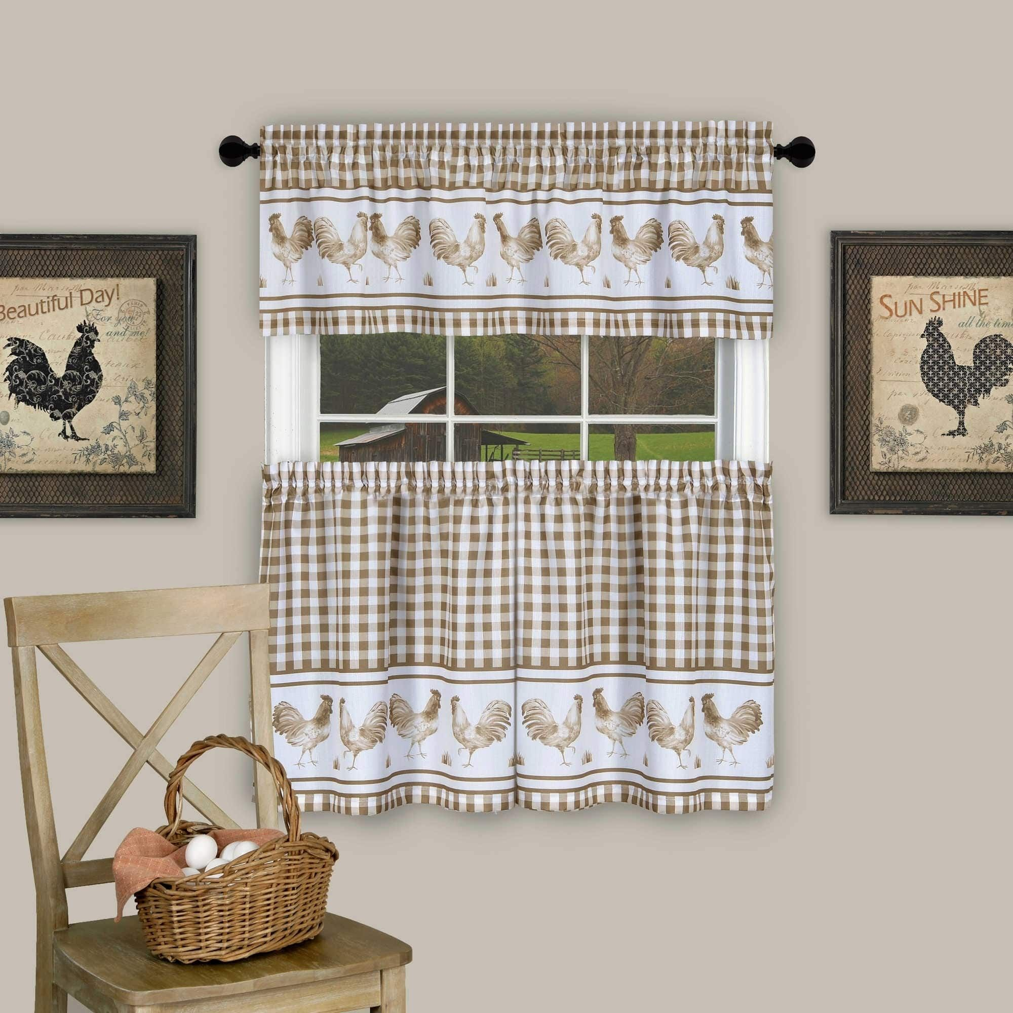 Rooster Barnyard Red Kitchen Tier and Valance Set