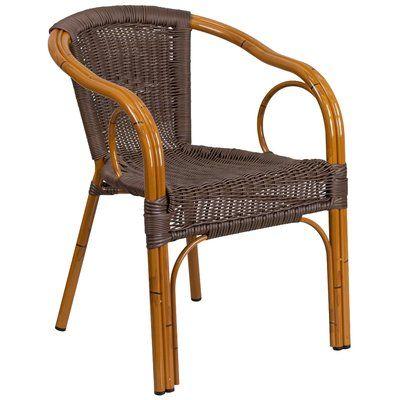 bay isle home roeville rattan restaurant patio chair finish dark rh pinterest co uk