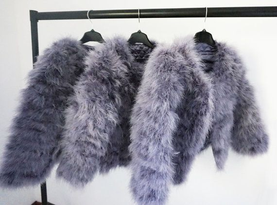 680713802ef Grey Fluffy Feather Jacket Marabou Winter Womens Clothing Outerwear ...