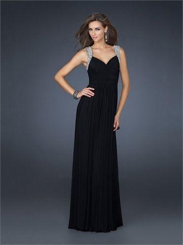 Elegant V-neckline with Beadings Floor Length Chiffon Homecoming Dress HD1494  http://www.homecomingstore.com
