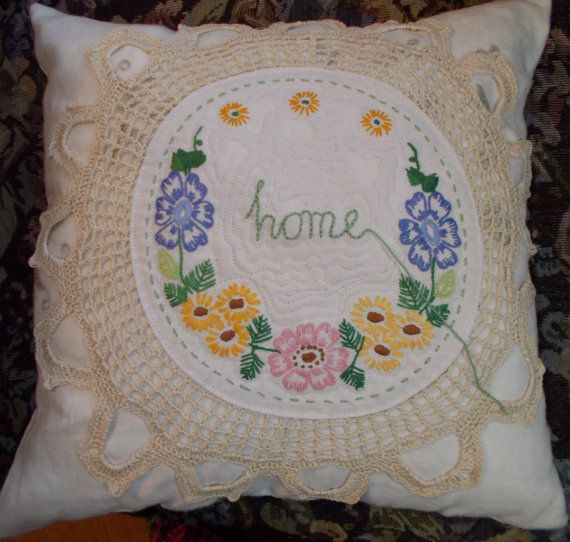 Shabby chic pillow vintage linens doily  hand by SilverDoily, $20.00
