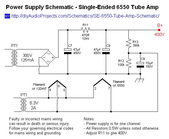 Power Supply Schematic - SE 6550 Tube Amp | vacuum tube equipt ...