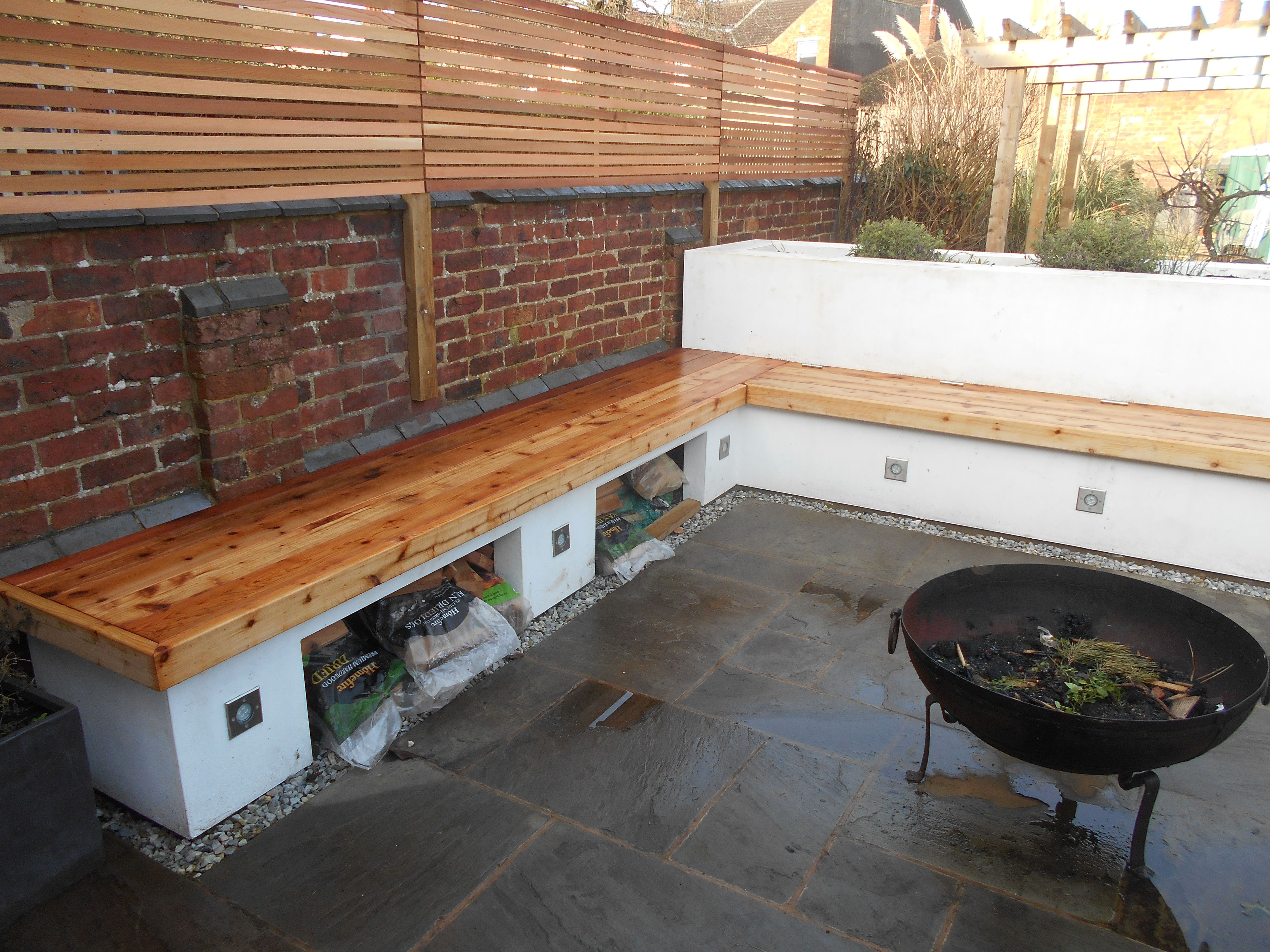 Cedar Screening And Bench, Built In Wood Storage.