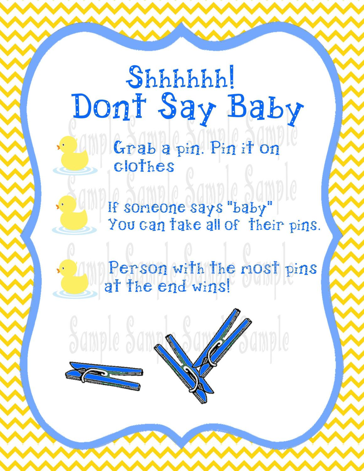 Printable Baby Duck Don T Say Baby Baby Shower Game By