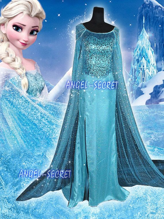 Deluxe Frozen Elsa Costume Ladies Princess Snow Queen Cosplay Custom Ball Dress