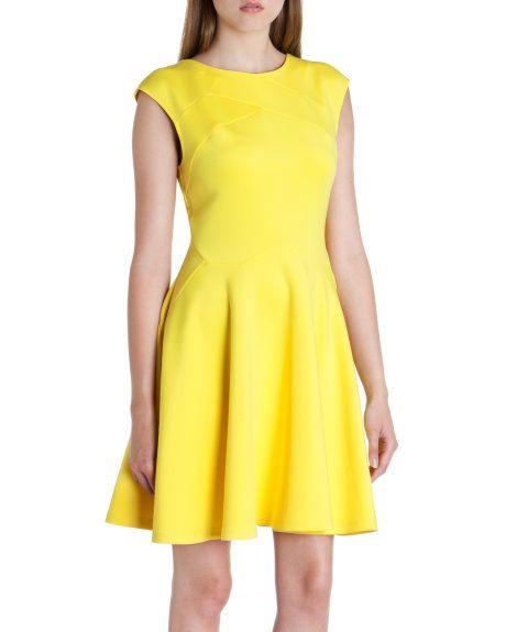 8a0d9a3fd0e7e Panelled skater dress - Yellow