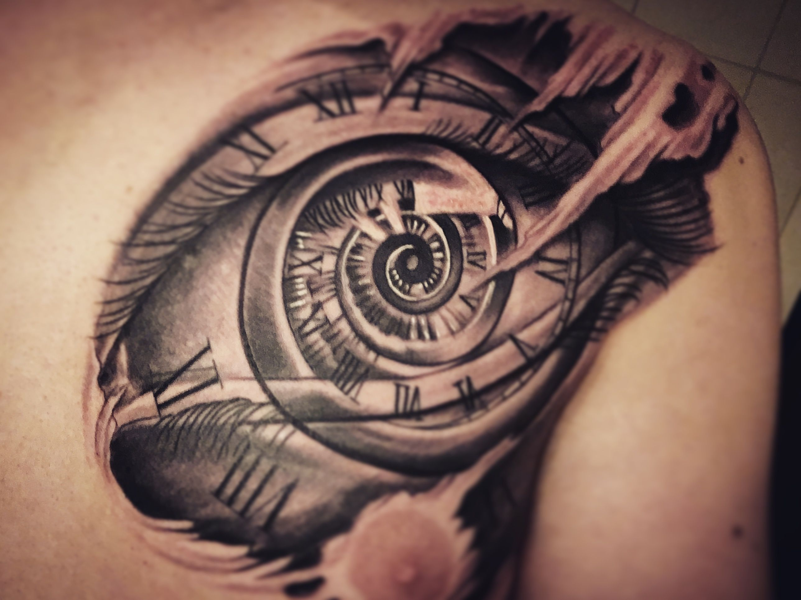 tattoo, Black and gray, chest, clock, eye, riped skin
