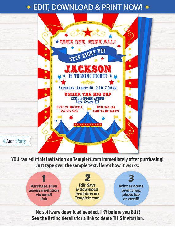 Circus Invitations - Carnival Birthday Invitations - Carnival Themed ...