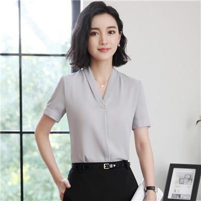 011ef0dd95bb5 v-neck women fashion formal short sleeve Casual loose blouse ...