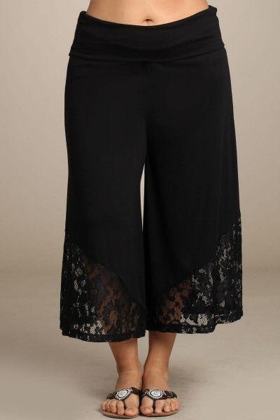 5f011f1aed020 Comfort waist band! Lace Detail Capri Pants 95% Viscose 5% Spandex ...