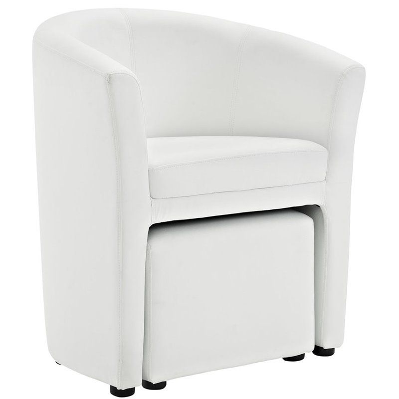Modway Divulge Faux Leather Accent Chair With Ottoman In White In 2020 Chair And Ottoman Set Ottoman Set Modern Armchair Design