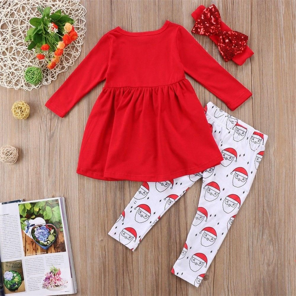 Christmas 3Pcs Toddler Kids Baby Girl Winter Clothes Tops Long Pants Outfits Set
