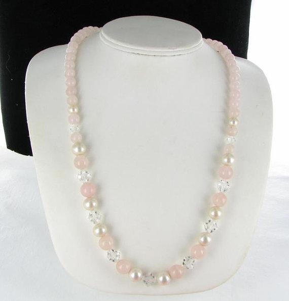 Pink Clear Glass beaded necklace vintage by vintagejewelrylane, $16.99