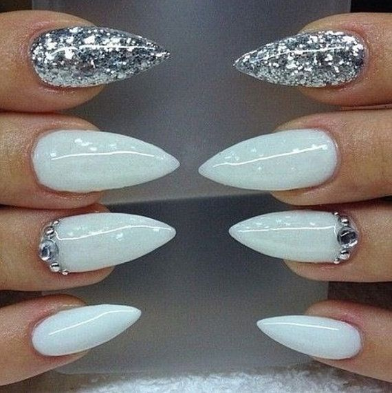 White nails silver nails stiletto nails by CrystalNailBoutique - White Shimmer Nails • Press On Nails • Stiletto Nails • Coffin Nails