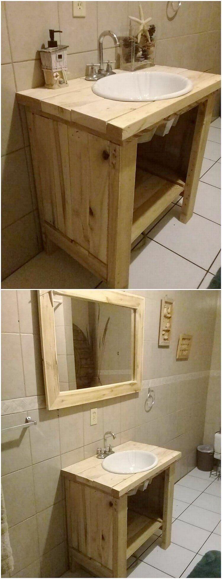 Fixing Water Leaking From Upstairs Bathroom To Downstairs 101 Wood Pallets Pallet Bathroom Diy Bathroom Vanity