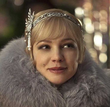 Carey Mulligan wearing the Tiffany & Co. bandeau designed for her role as Daisy Buchanan.
