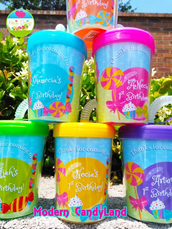 Modern Candyland Personalized Party Favor Cups Set by NeciaDesign