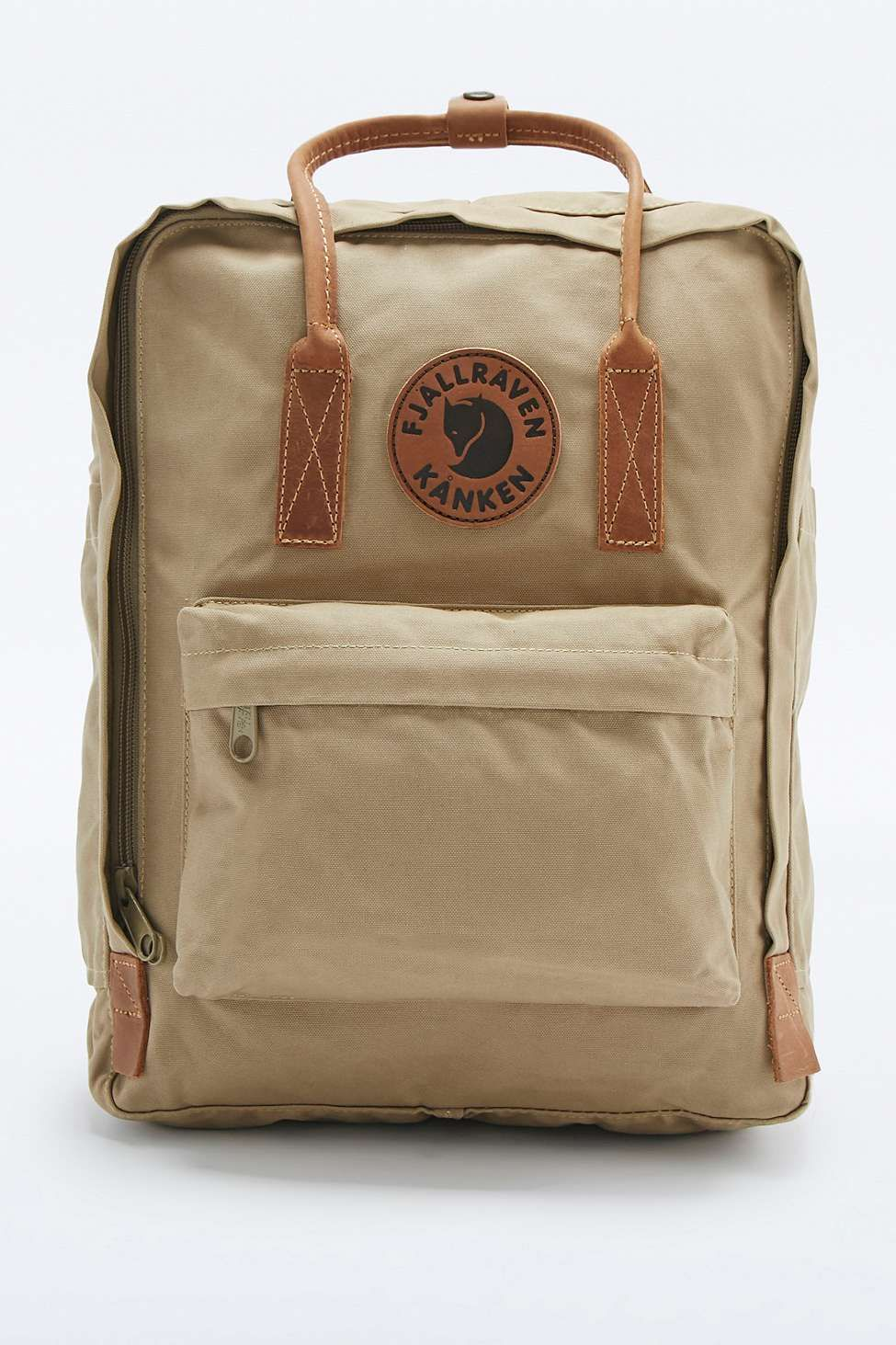 5794b92bd47b5 Fjallraven Kanken No. 2 Sand and Leather Backpack