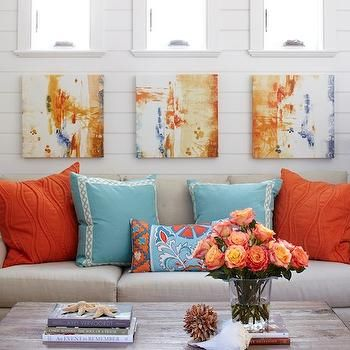 Living Room Decorating Ideas Orange Accents turquoise and orange living room, cottage, living room, tracery